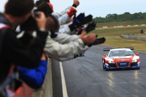 United Autosports celebrate a maiden British GT win for the Guasch/Bell Audi © Jakob Ebrey